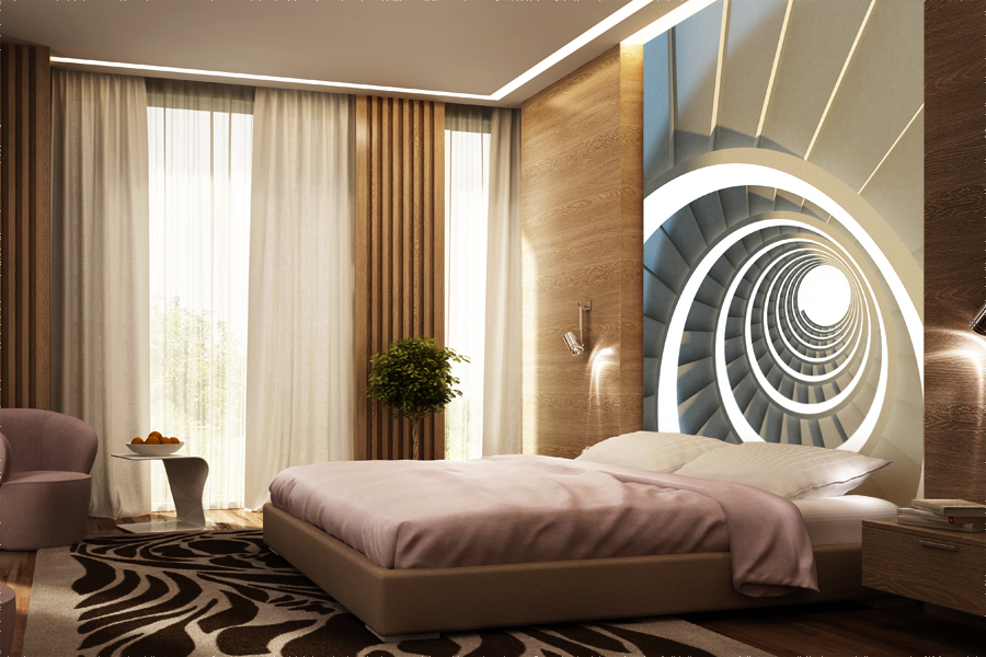 Grafika przestrzenno -abstrakcyjna w sypialni